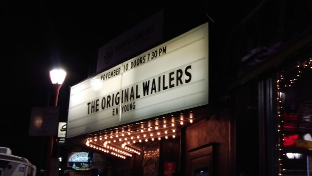 A picture of the marquee showing The Original Wailers featuring E.N Young.