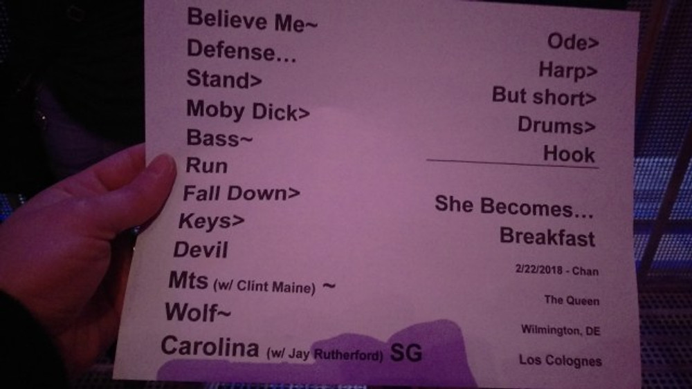 Set list from the show.