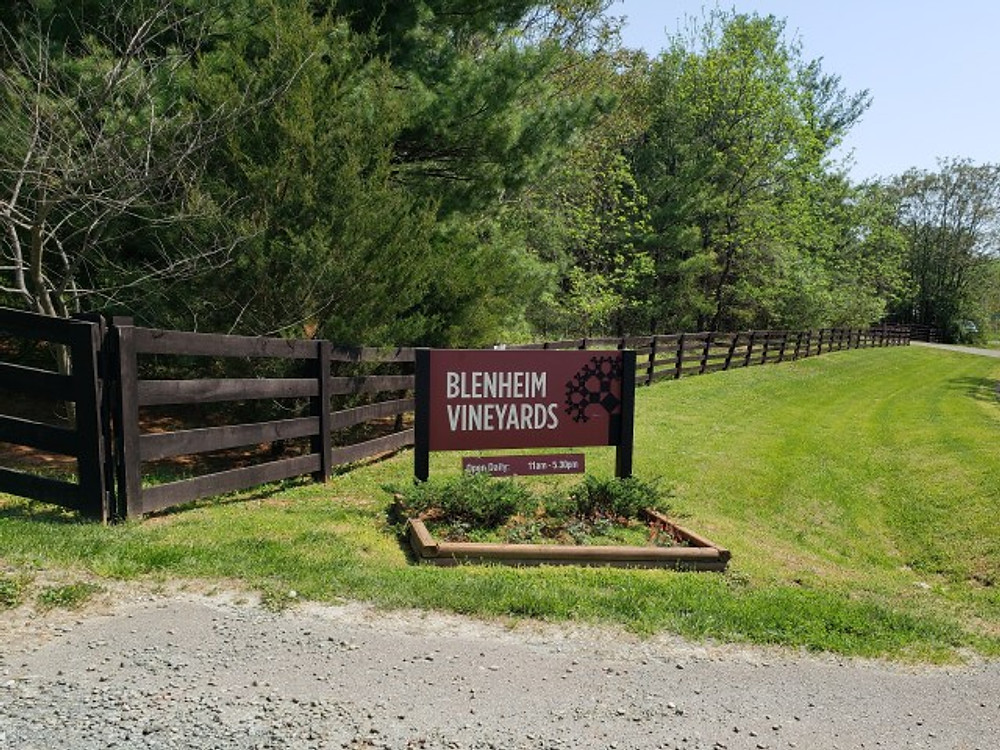 The sign at the entrance to Blenheim Vineyards.