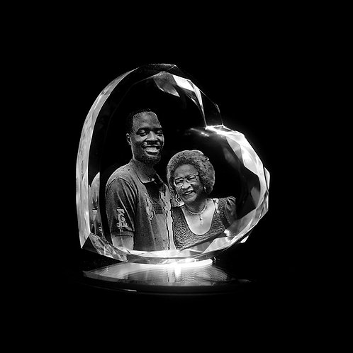 3D Photo Engraved Crystal Heart