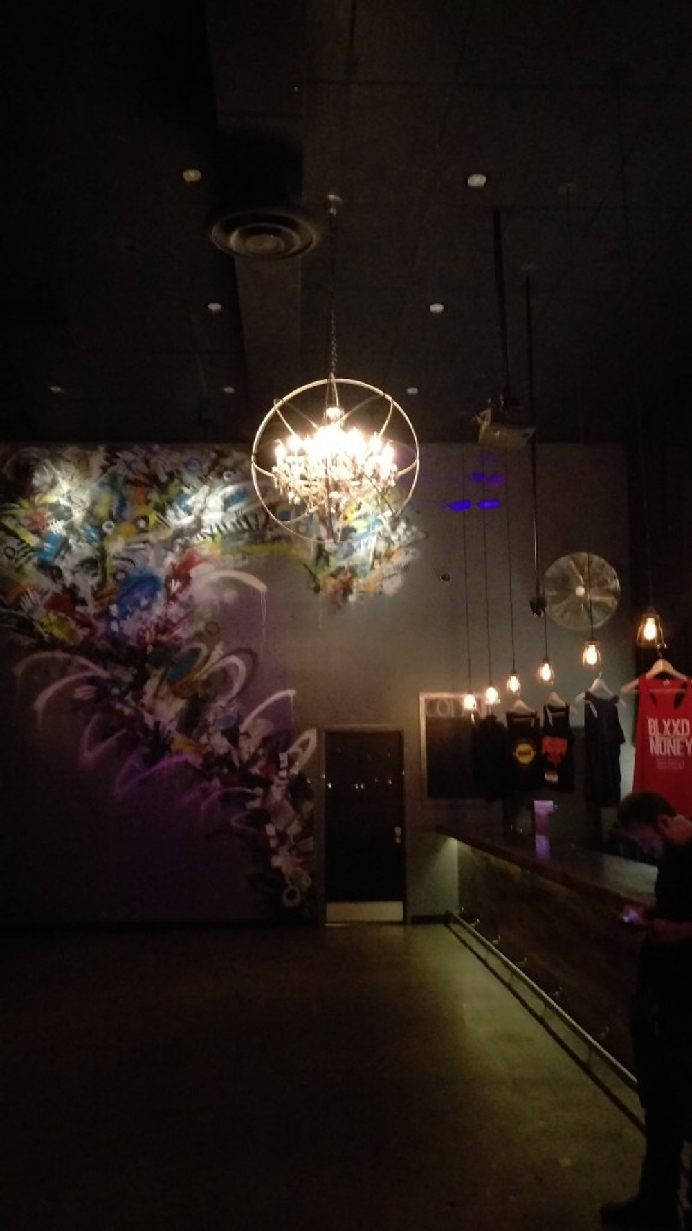 Picture of the main lobby area at Coda with a cool chandelier hanging.