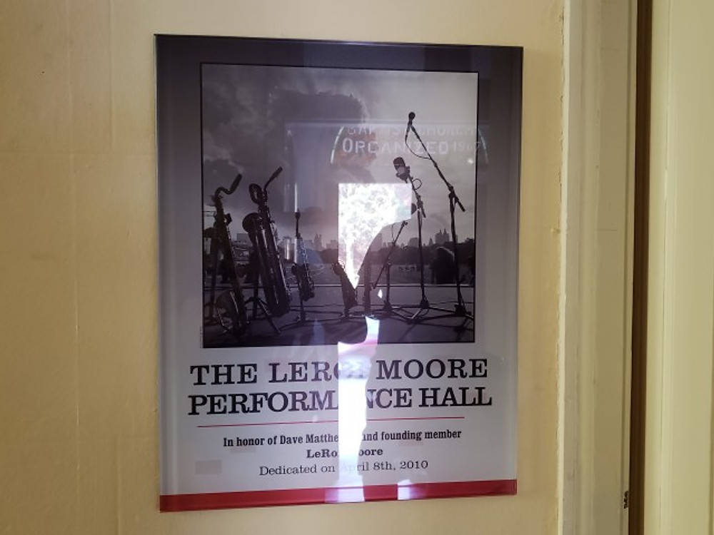 A plaque memorializing the LeRoi Moore Performance Hall at the Music Resource Center in Charlottesville.