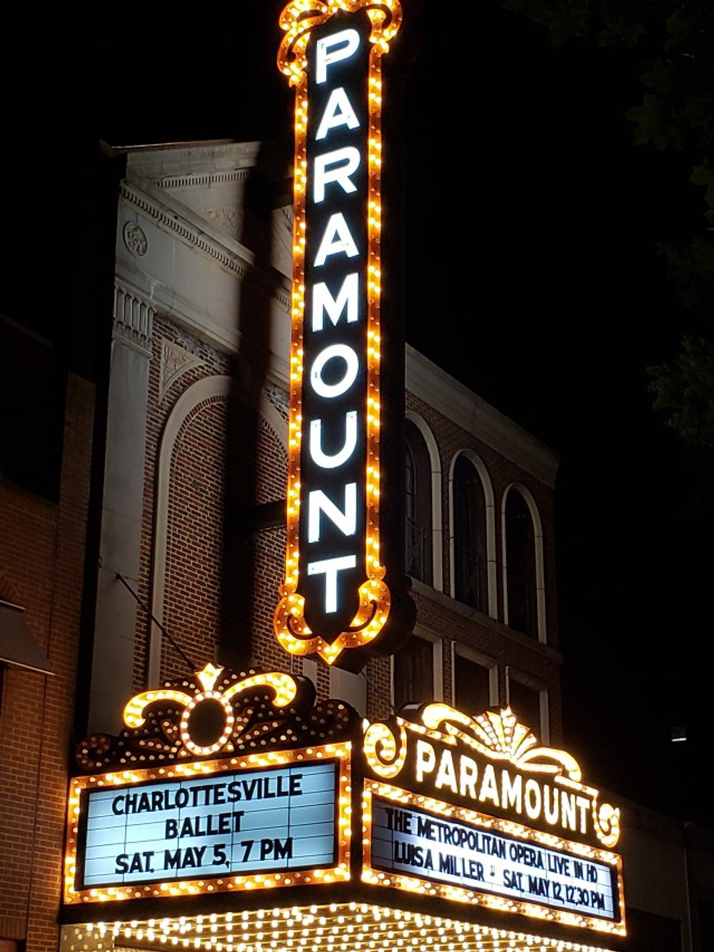The Paramount Theater in downtown Charlottesville.