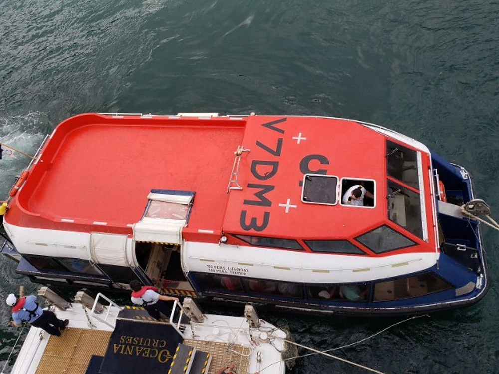 The lifeboat on Oceania Cruises.