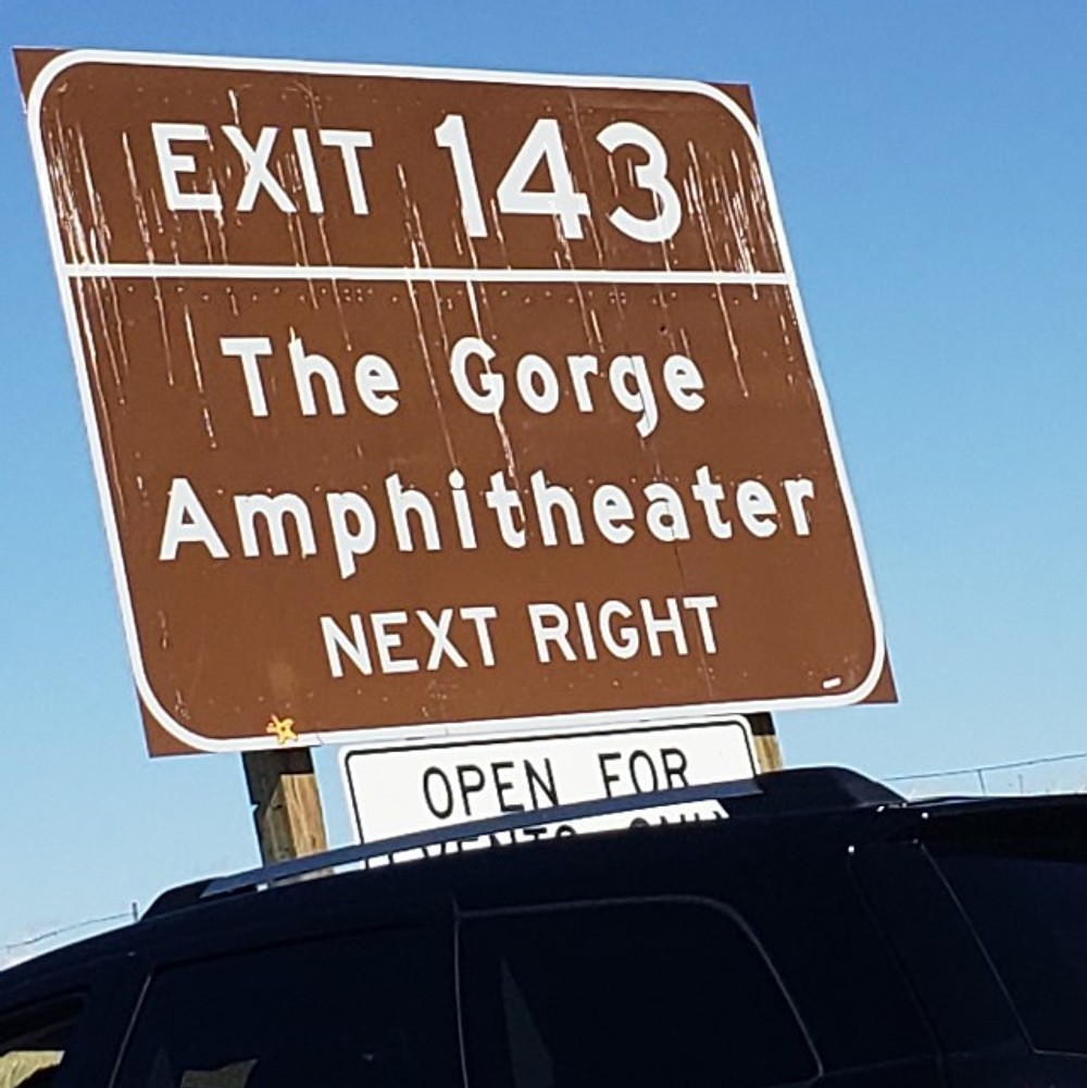The Gorge Exit 143 sign.