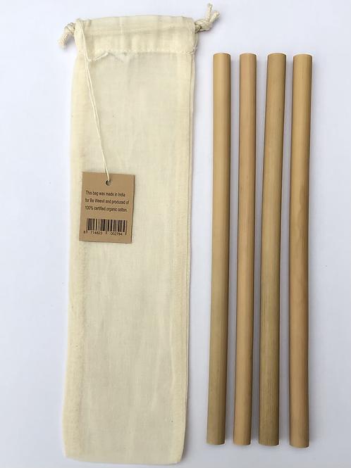 Set van 4 bamboe rietjes 22cm + zakje