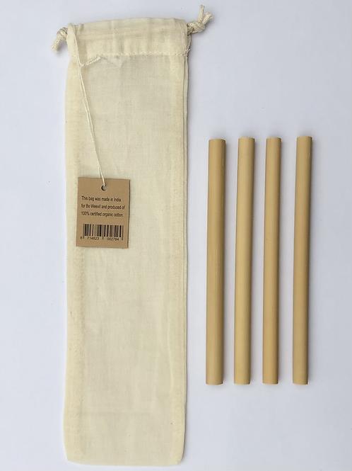 Set van 4 bamboe rietjes 14cm + zakje