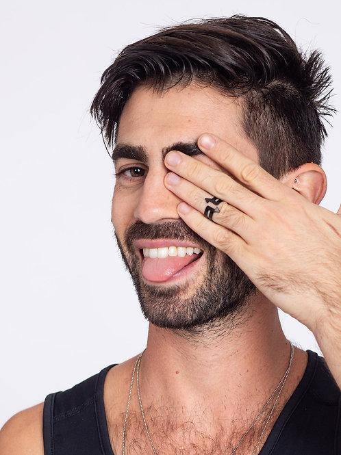 טבעת חיצים גברים שחורה