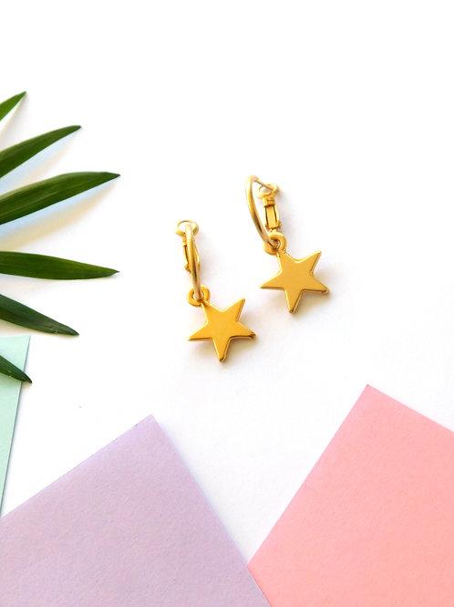 עגילי חישוק עם כוכבים