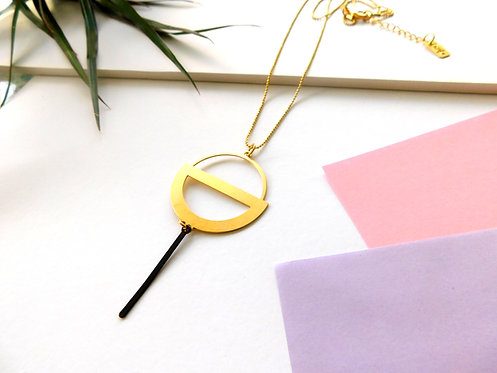 שרשרת עיגול גיאומטרי ארוכה  - זהב/כסף
