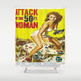attack of 50 ft woman, 50s print shower curtain, 50s fads