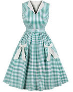 Retro Aqua Gingham Dress with Bows.jpg