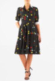 50s Style Swing Dress in Mid Mod Print