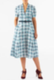50s Housewife Shirtdress in Blue Print