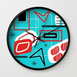 Retro Atomic 50s 60s Print Clock
