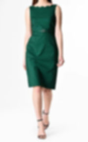 50s Sheath Dress with Scalloped Edge in Green
