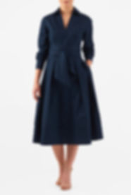 50s Style Long Sleeve Wrap Dress in Navy