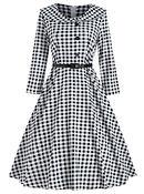 Retro Long Sleeve Gingham Flair Dress.jp