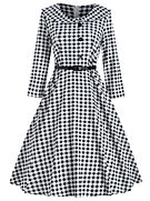 Retro Long Sleeve Gingham Flair Dress.jp