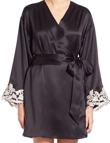 Luxurious silk retro style robe with contrasting lace trim accents.