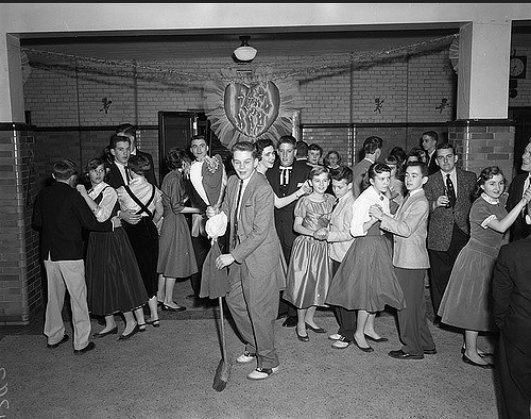 50s swing dress at sock hop