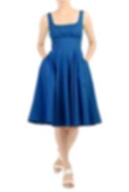 50s Sleeveless dress in Blue