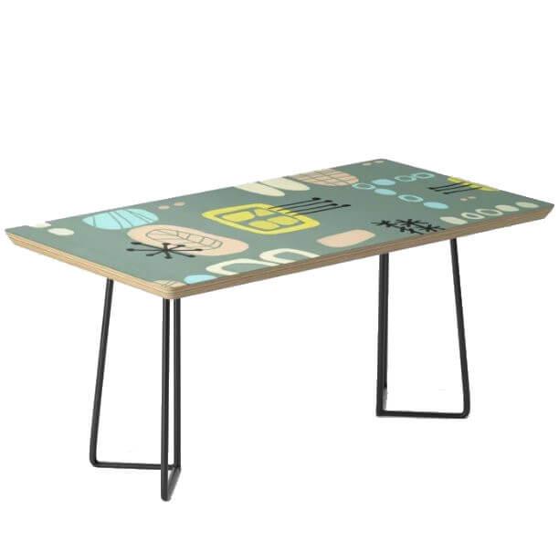 Mid Century Modern Barkcloth Print Coffee Table