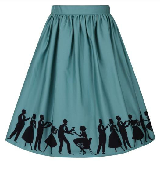 50s style circle skirt teal