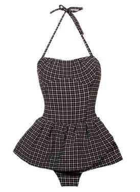50s Retro Swimsuit Black Gingham One Pie