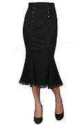 Retro Black Fishtail Wiggle Skirt.png