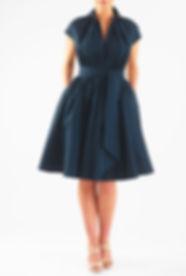 50s Flirty Swing Dress in Teal Blue