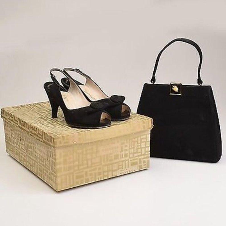 50s Peep Toe Shoes and Handbag