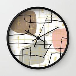 50s 60s Barkcloth Print Clock, 50s abstract print, 60s fads