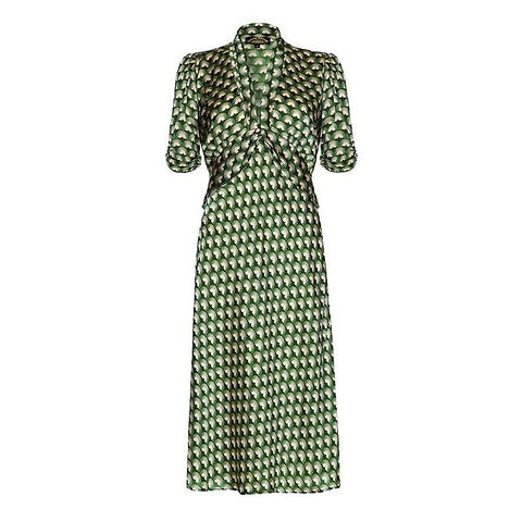 1940s Style Dress with Fan Print