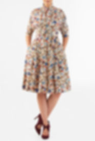 50s Style Dress with mid Length Sleeve Floral Print