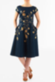 50s Style Navy Dress with Gold accent Print