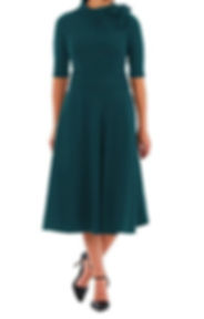 40s Style Pleat Knit dress with Bow Tie