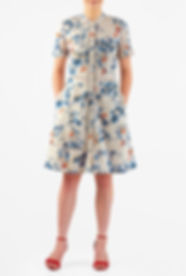 50s Style dress with Blue Floral print