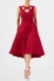 Retro Red Fancy Swing Dress