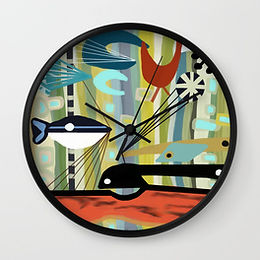 Digital Barkcloth inspired from 1950s, abstract fish, retro clock