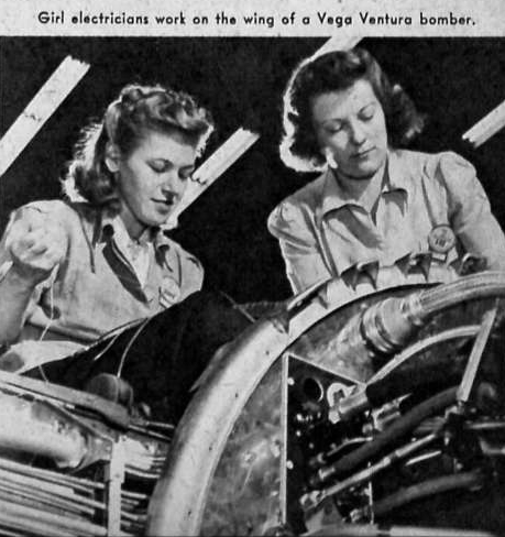 40s girl electricians working on bomber