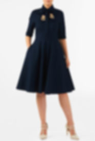 50s Style Dress with Applique in Navy