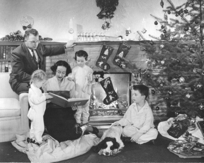 40s Christmas. Family getting Christmas Tree in the forties.