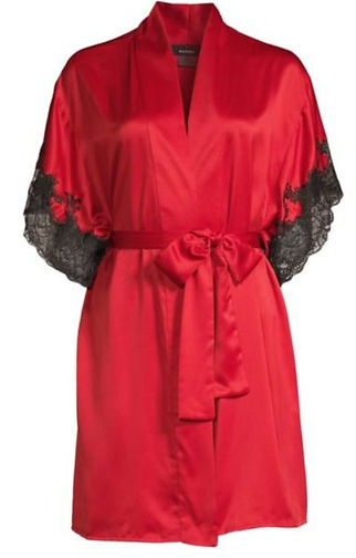 Contrasting color lace trim. This retro style satin robe is a must have to slip into after a hard days work.