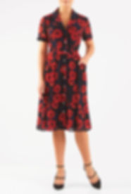 50s Shirtdress in Navy and Coral Floral print