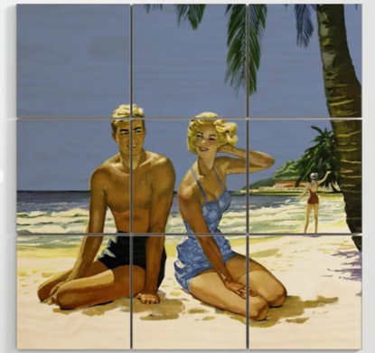 1950s Beach Culture Wood Art
