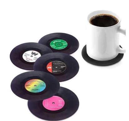 Retro Vinyl Record Drink Coasters