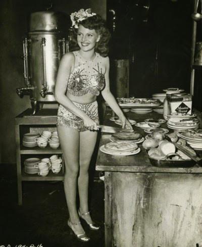Rita Hayworth serving at Hollywood Canteen