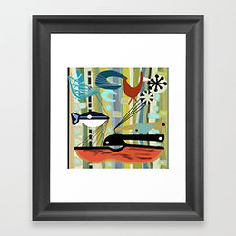 60s Abstract Fish Barkcloth, Mid Mod Framed Print, 60s decorating fad