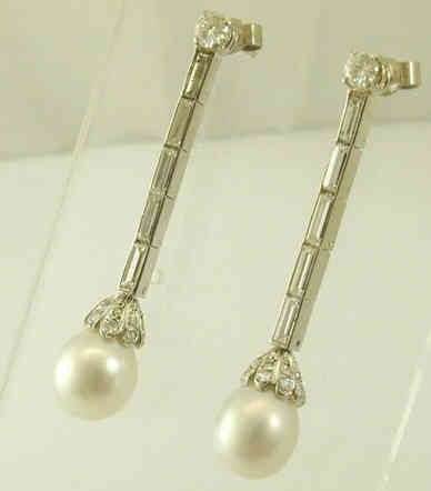 1950s Diamond and Pearl Earrings.